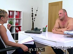 big muscled dude fucks blonde female agent