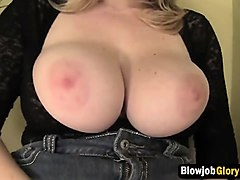 horny girl with big tits in glory hole action