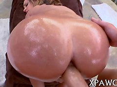 oiled up porn babes takes every inch of long dick outside