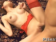 skinny tall japanese slut in red stockings gets fucked