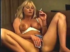 Hot Blonde Smokes and Masturbates