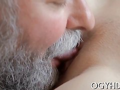 crazy old dude fucks her cunt but she loves it
