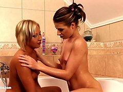bubble dildoers chyanne and butterfly lesbian sex and anal fingering in the bath by sapphic erotica
