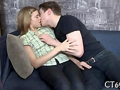 plump tits blonde teen kissed and stripped on a couch