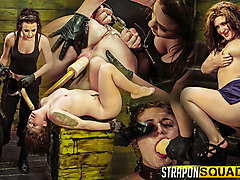 Pain Sex Slave Aryah May is Used & Wrecked by Mila Blaze & Brooklyn Daniels - StrapOnSquad