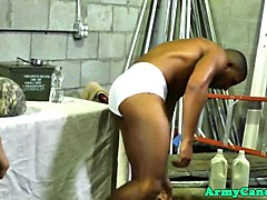 black hunk soldier assfucked in group