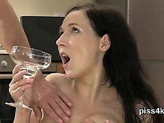 kissable girl is geeting pissed on and ejaculates wet pussy