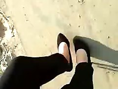 my sexy high heels getting all dirty in the sand