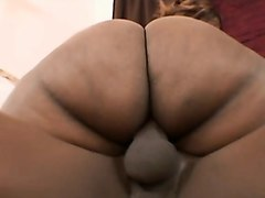 big booty caramel hottie has a black stud deeply pounding her snatch