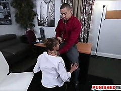 perky tits babe gives a blowjob and pounded in the office