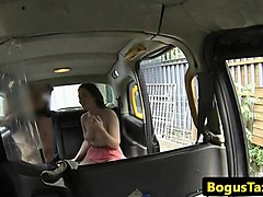 real european babe cockrides in back of taxi