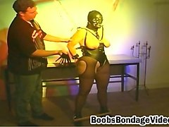 sex slave in leather mask gets natural tits tied and her body enchained