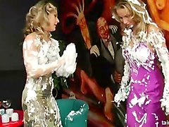 beautiful girls play with shaving cream and make a mess
