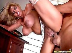 Busty Bridgette fucks her tax guy so he'd do her taxes for free