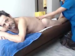 Grandpa has a massage and than stroke and cum