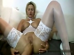 my wife looks fucking hot in white stockings and prefers fisting