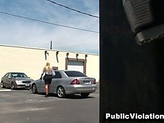 sassy and curvaceous fancy blonde milf in her car at the parking lot