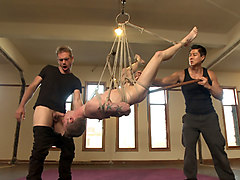 Hung stud tied up, ass fucked and made to swallow cock