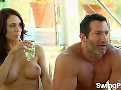 Hot swinger couples strip and fuck