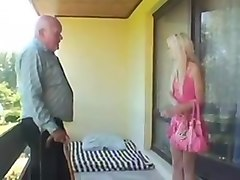 Old man junior girl - granpa Mireck sex on the balcony
