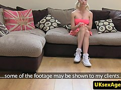 Bigtitted english babe sucking for audition