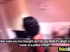 british girlfriends home invaded by the hunk police asked for blowjob arrangement