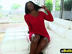 Ebony slut gets fucked by white cock