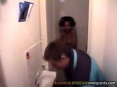 beautiful african teen got caught taking a hot shower. a