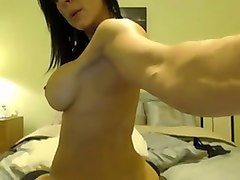 fantastic big breasted webcam brunette milf in stockings masturbated