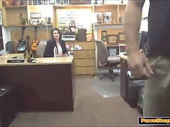 brunette milf gives the pawnshop owner a blowjob in his office