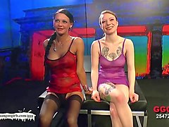 blonde and brunette babes fucked and glazed side by side - german goo girls