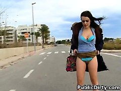 brunette claudia bomb flashing tits and ass in public