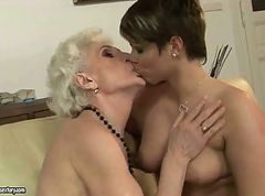 Granny enjoys lesbian sex with young girl