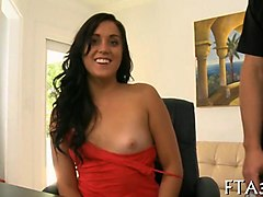 curly haired honey with small boobies knows how to ride a cock