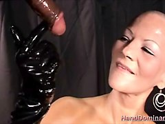 big tit annie gives an oily handjob