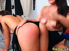 two lovely ladies sharing one cock on cam