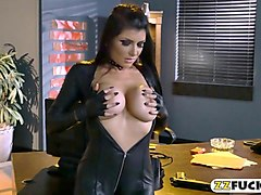 luscious woman in latex bodysuit banged by big black cock