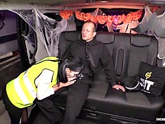 fucked in traffic - british babe plays the police woman, fucks in a car decorated for halloween