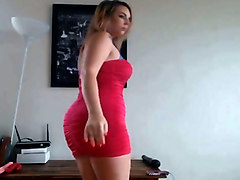this webcam girl looks orgasmically hot in her pink dress