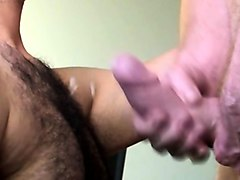 the large uncut manhood of ron cums on our hairy chest