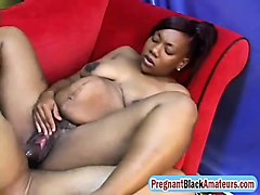 pregnant black chick rides long schlong hard
