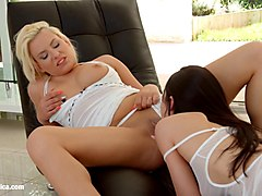 passionate lesbian sex with lucy shine and crystal greenvelle on sapphic erotica