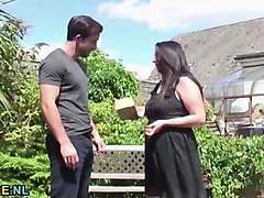 mature lady having sex with  stud in the garden