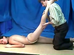kinky massage performed for lewd and lazy slim brunette teen