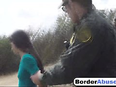 pale brunette abused blowjob at border officer