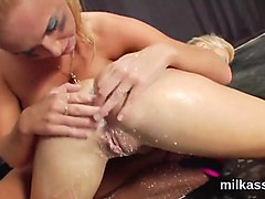 Nasty lesbians fill up their ### asses with milk and splash it out
