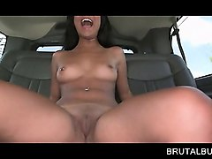 petite brunette gets wet snatch licked in the bus