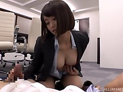 short-haired office worker from japan and a pounding for her pussy