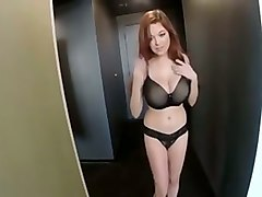 sweet redhead bragged of her gorgeous big boobies in black bra