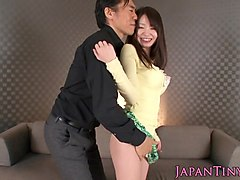 Finelooking nippon babe spanked while fucked